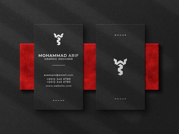 Роскошная визитка и макет с тисненым логотипом, вид сверху