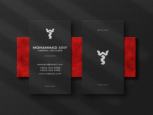 Top view luxury business card and embossed logo mockup
