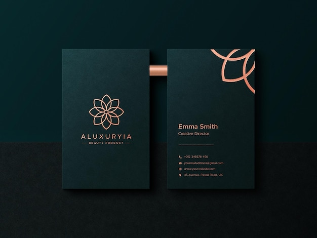 Top view luxury business card mockup with foil pressed logo