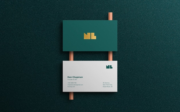 Top view luxury business card mockup