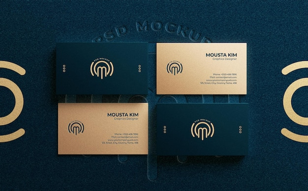 Top view luxury business card with embossed logo mockup
