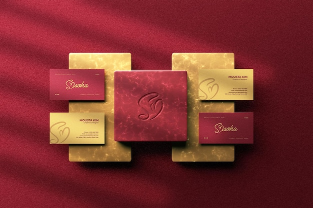 Top view luxury business card with logo mockup design