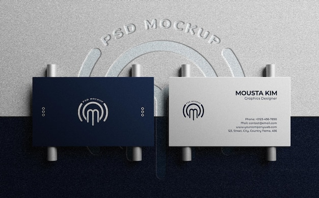 Top view luxury and clean business card with embossed logo mockup