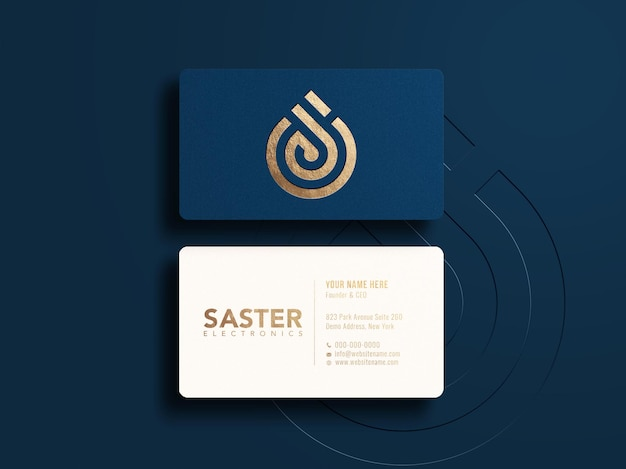 Top view luxury horizontal business card and logo mockup