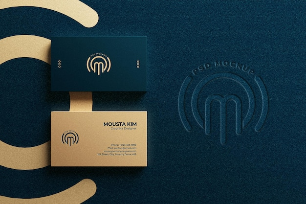 Top view luxury horizontal business card with embossed logo mockup