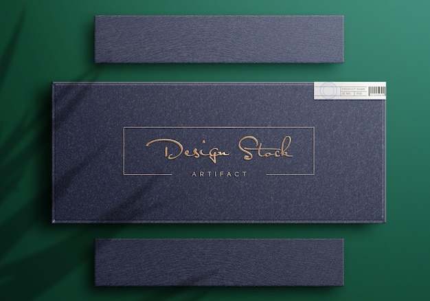 Top view on luxury logo mockup on a box