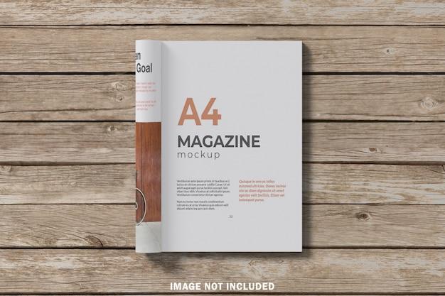Вид сверху журнала а4 макет
