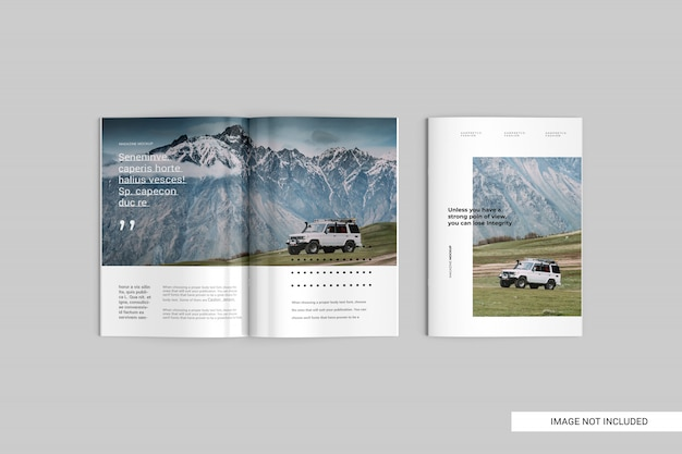 Top view magazine mockup