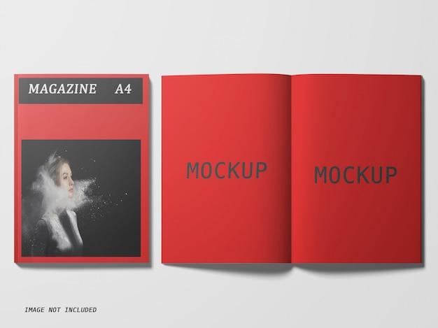 Top view of magazine mockup