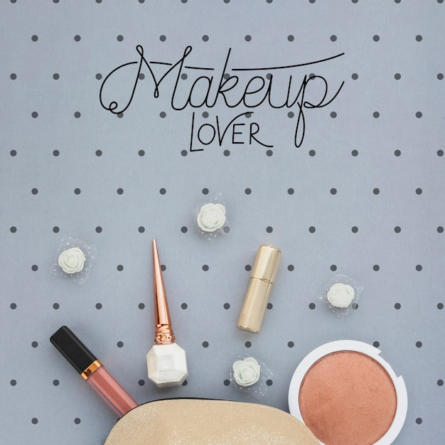 Top view of make-up concept mock-up