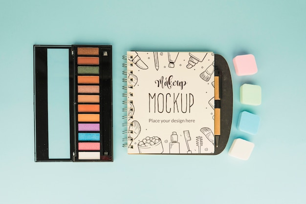 Top view make-up palette mock-up
