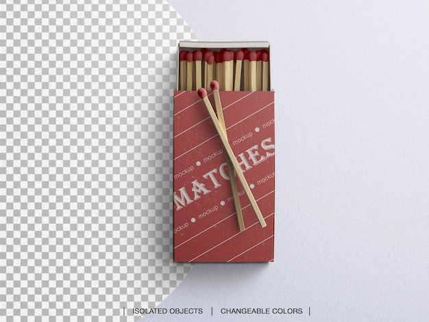 Top view of matches box mockup isolated