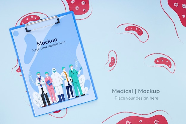 Top view medical clipboard with mock-up