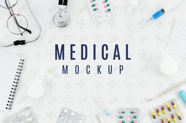 Top view medical concept with mock-up