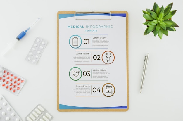 Top view medical infographic with mock-up
