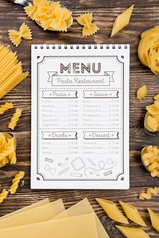 Top view menu and pasta arrangement