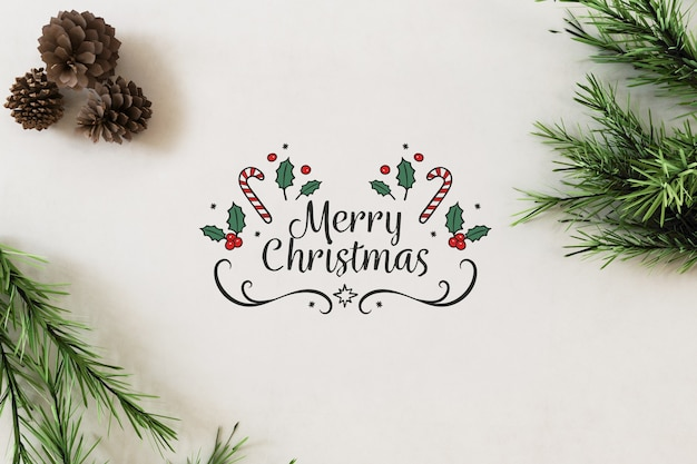 Top view on merry christmas banner mockup