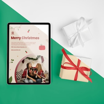 Top view merry christmas greeting with mock-up