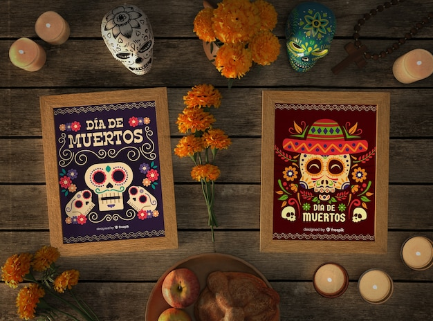 Top view mexican skull mock-ups with festive elements
