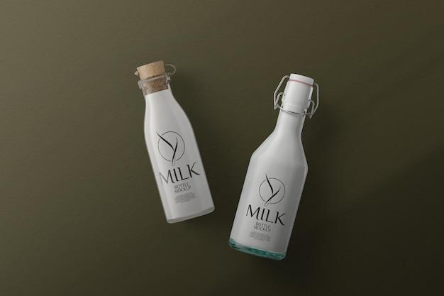 상위 뷰 우유 병 모형