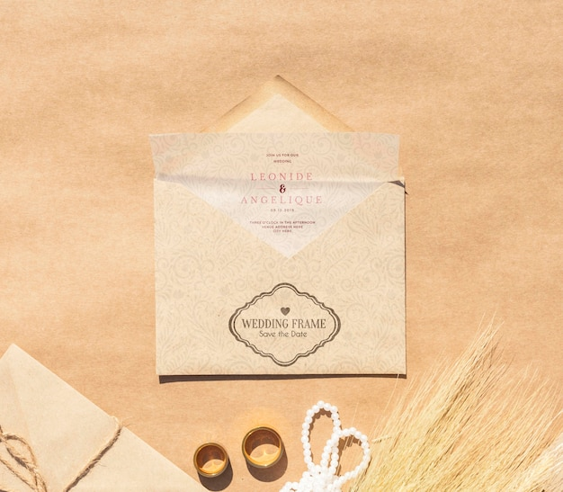 Top view minimalist brown paper envelopes