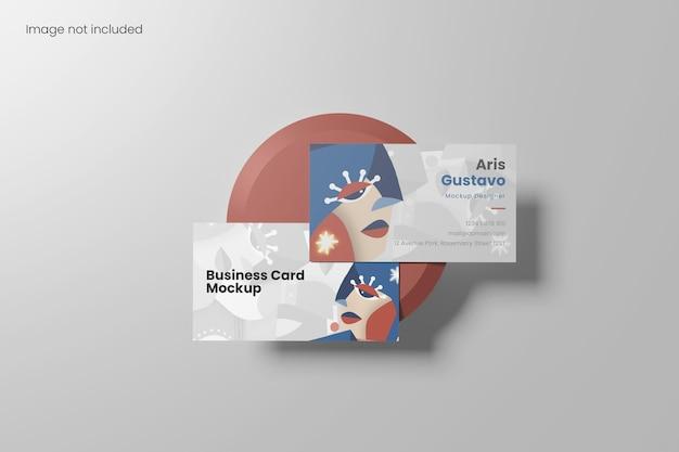 Top view minimalist business card mockup