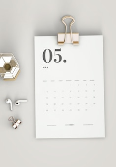Top view minimalist clipboard calendar mockup