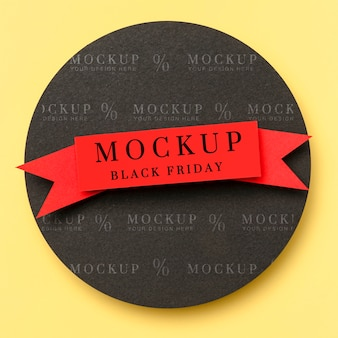 Top view mock-up black friday ribbon on yellow background