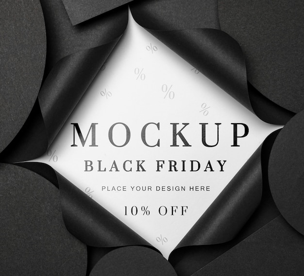 Top view mock-up black friday torn paper