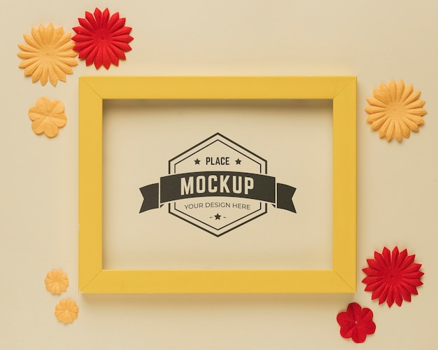 Top view of mock-up frame with paper decoration Free Psd