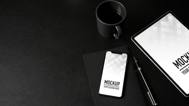 Top view of mock up smartphone and tablet mockup