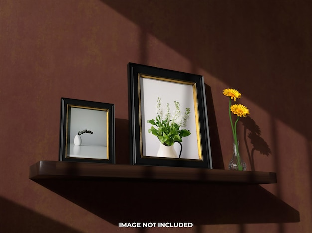 Top view mockup realistic picture frame with flower