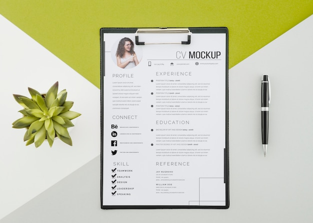 Top view modern curriculum vitae with mock-up
