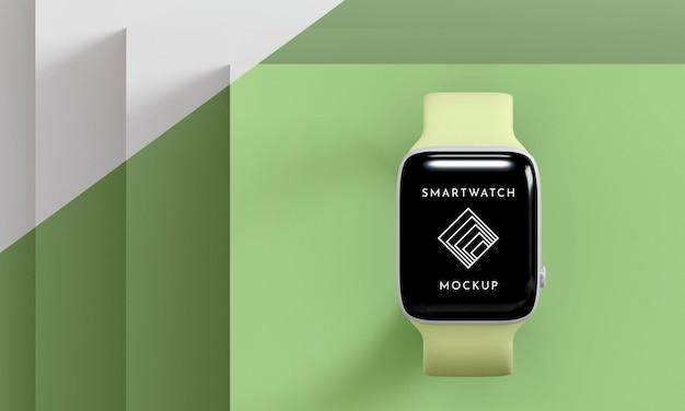 Smartwatch moderno con vista dall'alto con mock-up dello schermo