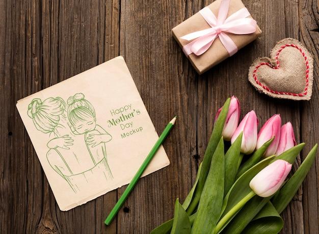 꽃과 함께 상위 뷰 어머니의 날 개념
