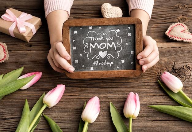 Vista dall'alto concetto di festa della mamma