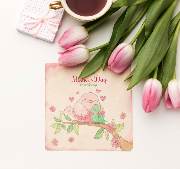 Top view mothers day greeting card concept