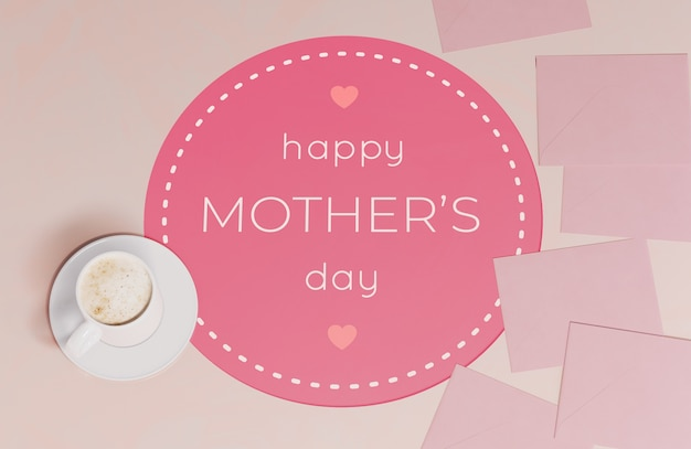 Top view mothers day greeting card with mug