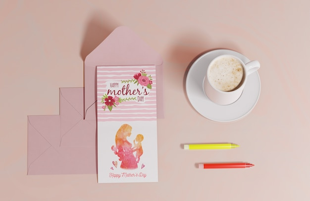 Top view mothers day greeting card