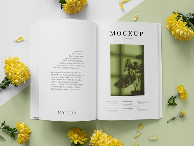 Макет обложки журнала о природе с листьями Бесплатные Psd