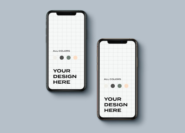 Top view new smartphones mockup