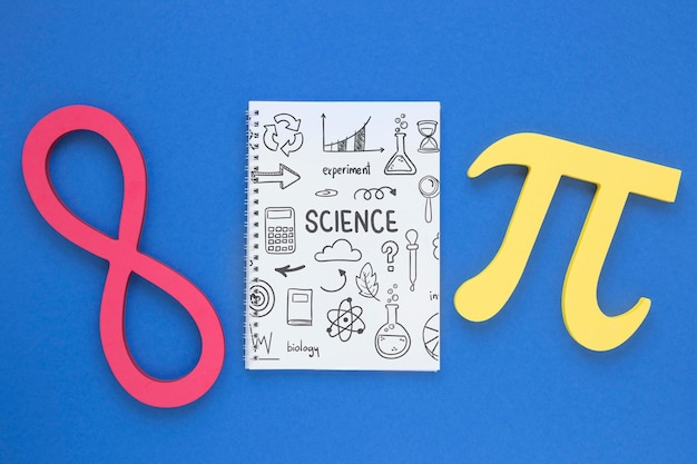 Top view of notebook with pi sign and infinity