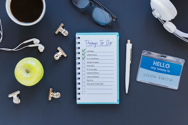 Top view notepad with to do list on the desk