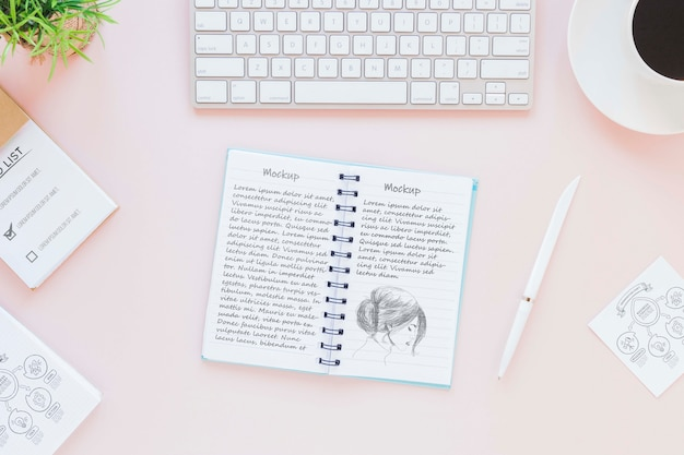 Top view notepad with mock-up concept
