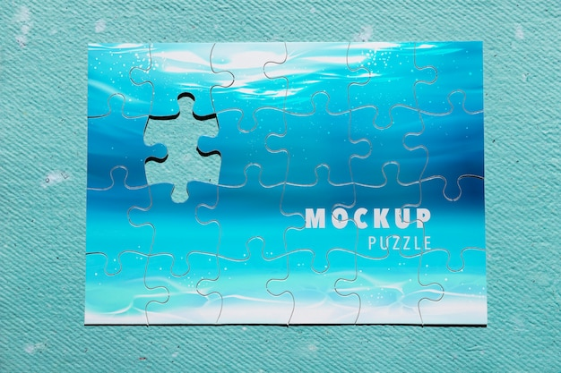 Top view ocean puzzle on blue background