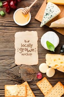 地元産チーズの盛り合わせのトップビュー