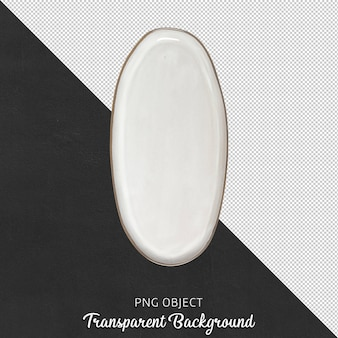 고립 된 비대칭 흰색 접시의 상위 뷰