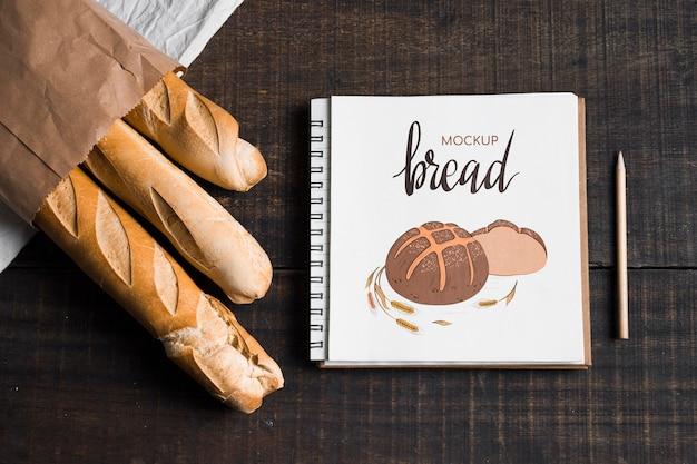 Вид сверху макета концепции пекарни