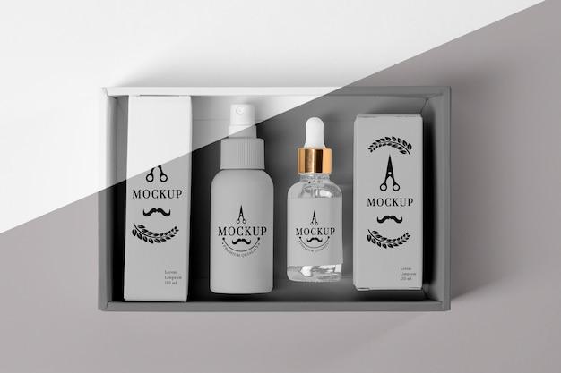 美容液と理髪店の製品ボックスの上面図