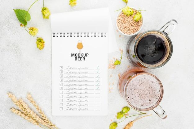 大麦とビールパイントの上面図